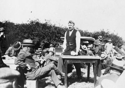 Gordonton - A W Chapman addressing a meeting