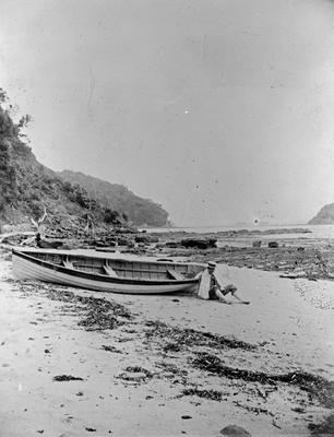 Hugh Douglas and canoe at Waiwera