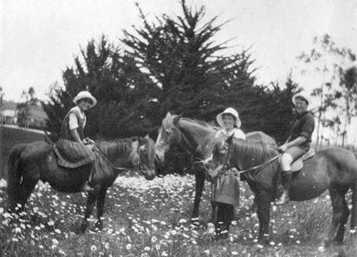 Douglas family on horseback