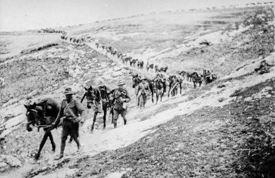 Soldiers leading horses