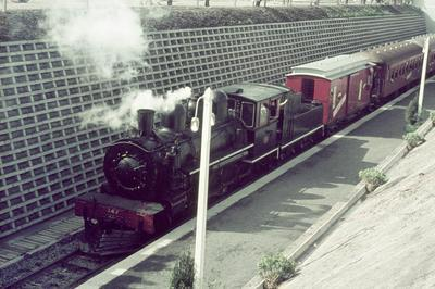 Train on lowered line at Hamilton