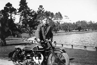 Bob Bailey with motorcycle at Hamilton Lake