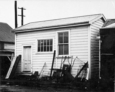 Railway hut in Frankton Station yard