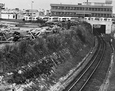 Ellis & Burnand's timber yard and NZ Railways Road Services depot