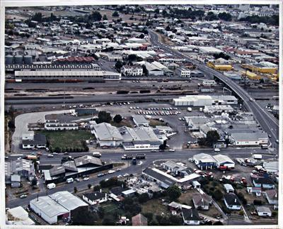 Aerial view of Huttons factory and Frankton village