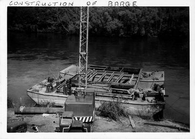 Construction of barge for building Cobham Bridge