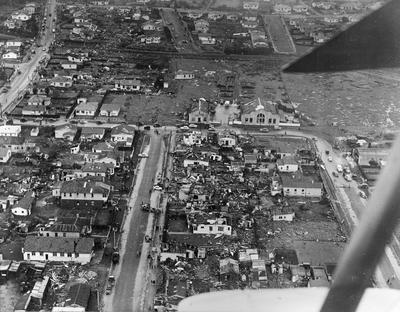 Aerial view of Frankton after the tornado