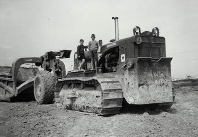 Boys on a bulldozer