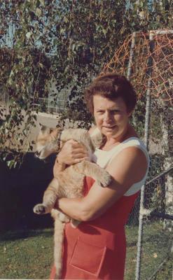 Gloria Powell with lion cub