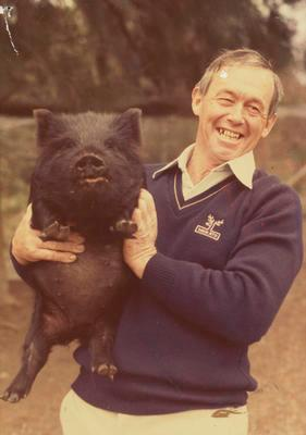 Murray Powell with pigs