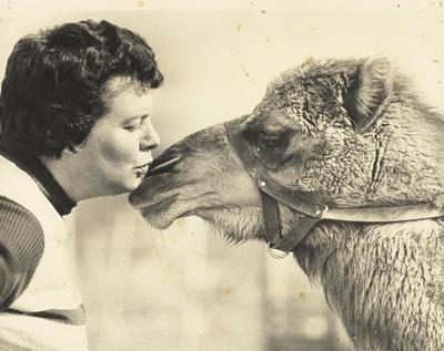Gloria Powell with camel