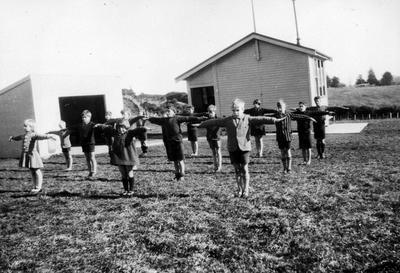Children exercising at Taotaoroa School
