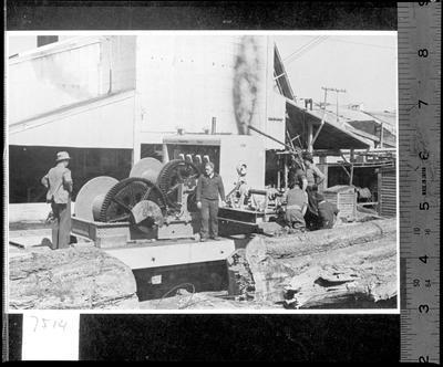 A diesel Caterpillar vehicle at Ellis & Burnand Ltd's Manunui sawmill