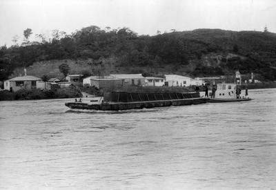 Mr. Wainui after launching at Mercer with barge