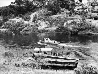 Kaitoa boat and sand barge on the Waikato River