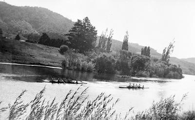 Canoes on Waikato River at Turangawaewae