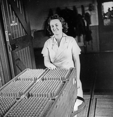 Worker in an ammunition factory