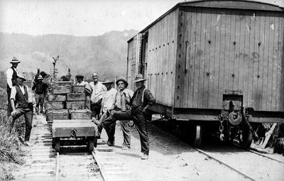 Installing railway at Hopuhopu Camp in Ngaruawahia