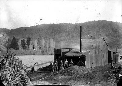 Flaxmill along river at Ngaruawahia