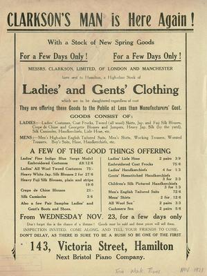 Ladies' and Gents' Clothing sale