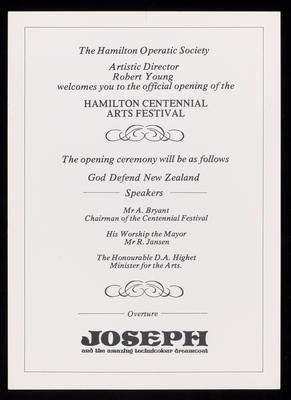 Hamilton Centennial Arts Festival opening ceremony
