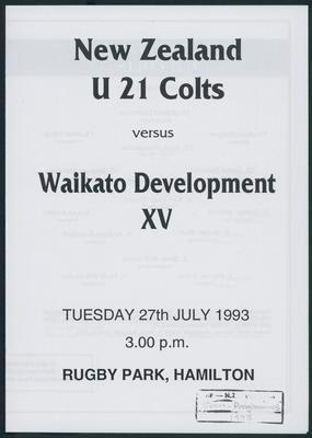 New Zealand U 21 Colts versus Waikato Development XV