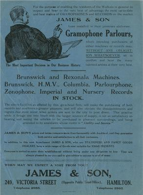 James & Son's gramophone parlours