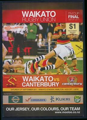 Waikato Rugby Union. ITM Cup Final. Waikato vs Canterbury