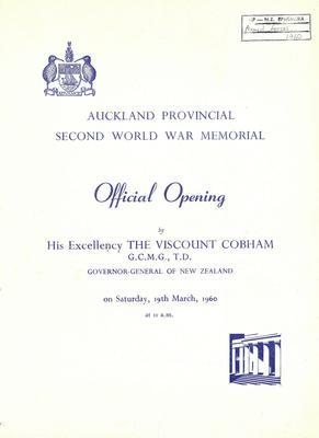 Official opening of the Second World War Memorial