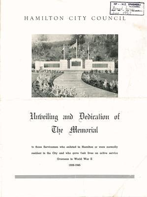 Unveiling and dedicating of World War Two memorial