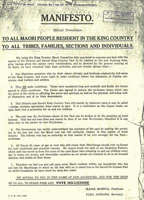 Manifesto To All Maori People resident in the King Country