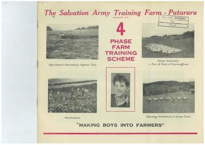 The Salvation Army Training Farm - Putaruru 4 phase farm training scheme
