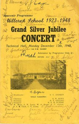 Hillcrest School 1923 - 1948 Grand Silver Jubilee Concert