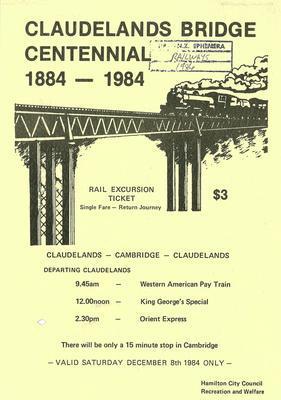 Claudelands Bridge Centennial 1884-1984