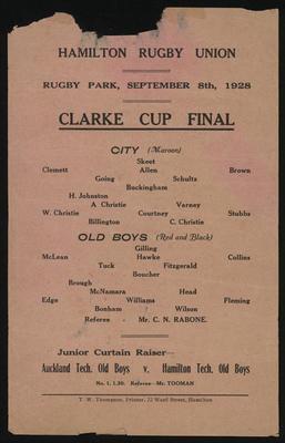 Hamilton Rugby Union Clarke Cup Final