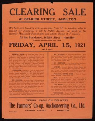 Farmers' Co-operative Auctioneering Co, Ltd, Clearing Sale