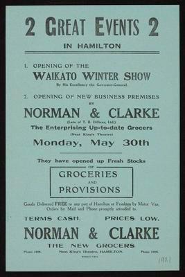 Norman & Clarke, 2 Great Events in Hamilton