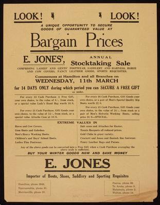 E Jones, Look! Look! Bargain Prices