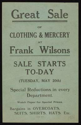 Great Sale of Clothing & Mercery at Frank Wilsons