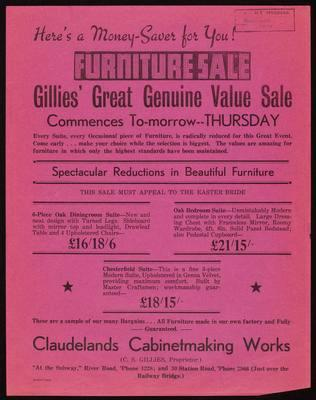 Gillies' Great Genuine Value Sale