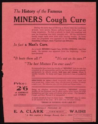 The History of the Famous Miners Cough Cure