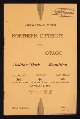 Plunket Shield Cricket Northern Districts versus Otago