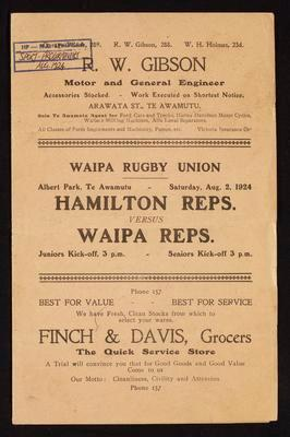 Hamilton reps versus Waipa reps