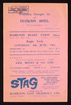 Hamilton Rugby Union Saturday 8 June 1963