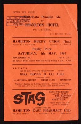 Hamilton Rugby Union, Rugby Park, Saturday 4th May 1963