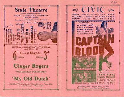 Coming attractions at the Civic and State Theatres 1936