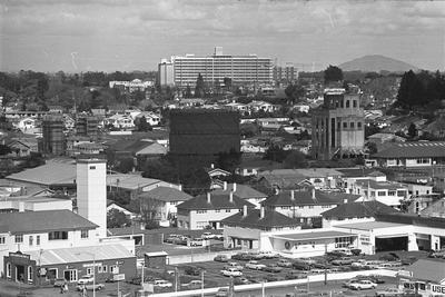 View of Fire Station, Gasworks and Waikato Hospital