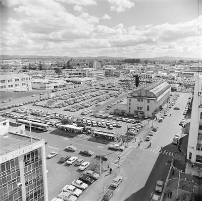 Aerial view of Anglesea and Alexandra Streets showing car parks and Hamilton Public Library.