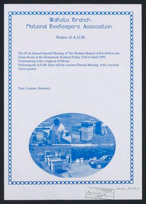 Waikato Branch National Beekeepers Assoc notice of A.G.M.