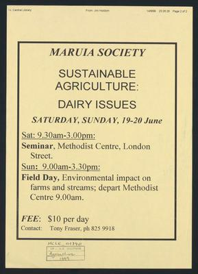 Maruia Society Sustainable Agrriculture: Dairy Issues Seminar.